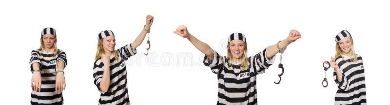 O prisioneiro isolado no fundo branco fotos de stock