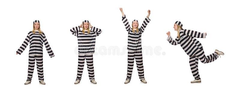 O prisioneiro isolado no fundo branco imagem de stock royalty free