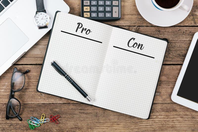 O pro - e - engodo alista na almofada de nota na configuração do plano do escritório foto de stock royalty free