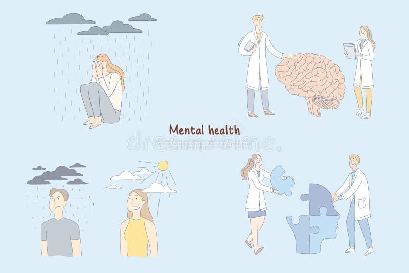 O problema de saúde mental, cientistas, pesquisadores estuda o cérebro humano que funciona, psicologia da bandeira da personalida ilustração stock