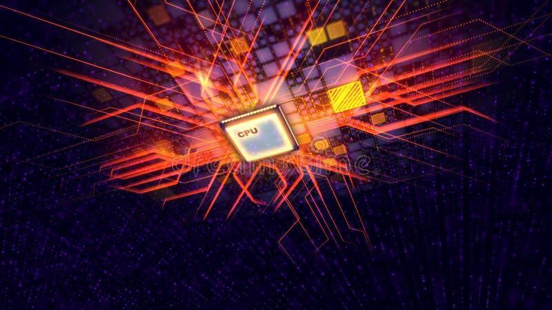 O processador central do quadrado transporta feixes de energia alaranjados ilustração royalty free