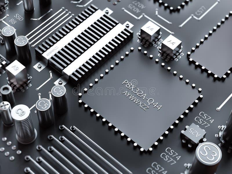 O processador (microchip) interconectou a recepção e a emissão da informação Conceito da tecnologia e do futuro ilustração stock