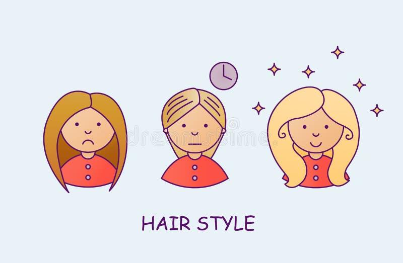 O processo de coloração de cabelo Uma moça com um penteado do volume Salão de beleza, cabeleireiro Blondie, Brown, Ombre ilustração do vetor