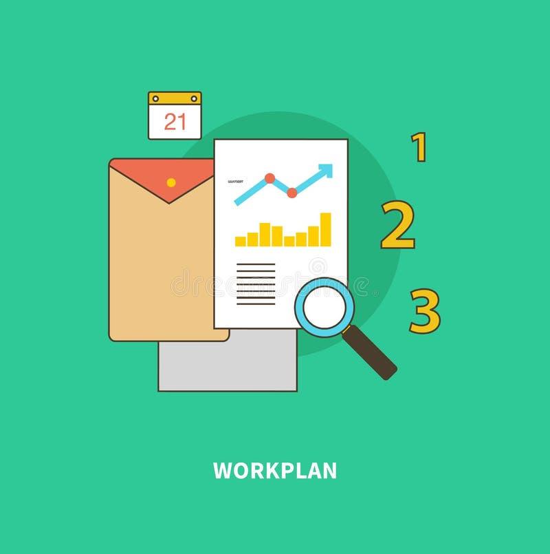 O processo de negócios da fase é formação de plano de trabalho ilustração stock