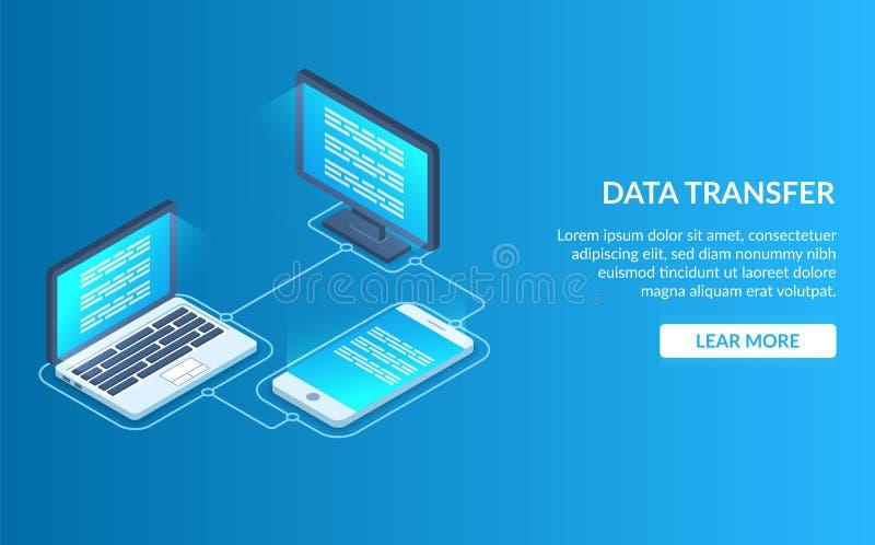 O processo de sincronizar dados entre um portátil, um telefone celular e um PC Transfira dados entre dispositivos diferentes mode ilustração stock