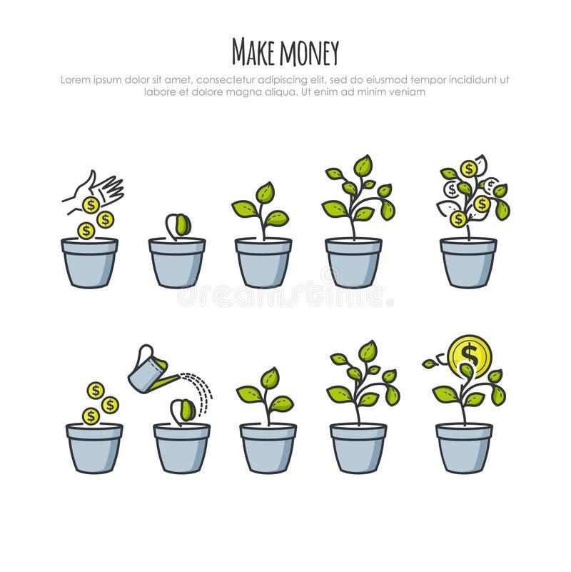 O processo do investimento com árvore do dinheiro e o homem de negócios entregam a ilustração do vetor Investimentos e cresciment ilustração stock