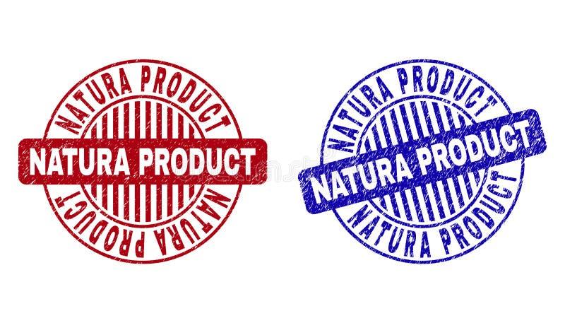 O PRODUTO do Grunge NATURA riscou selos redondos ilustração royalty free