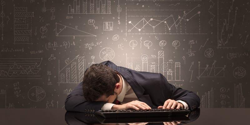 O professor caiu adormecido em seu local de trabalho com conceito completo do quadro-negro da tração ilustração stock