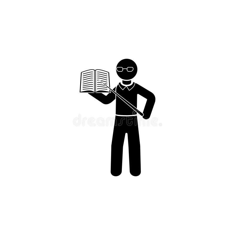 O professor com o livro ilustração do vetor