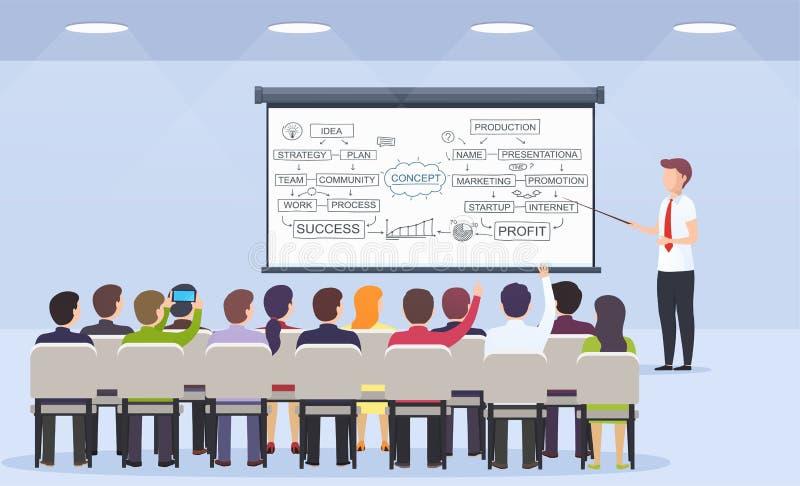 O professor da pessoa do negócio ensina uma leitura para a estratégia empresarial, o comércio eletrônico e o mercado a uma audiên ilustração do vetor