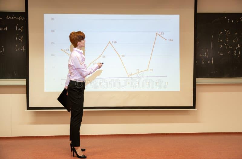 O professor explica o desenvolvimento do mercado no exemplo de um gráfico fotografia de stock
