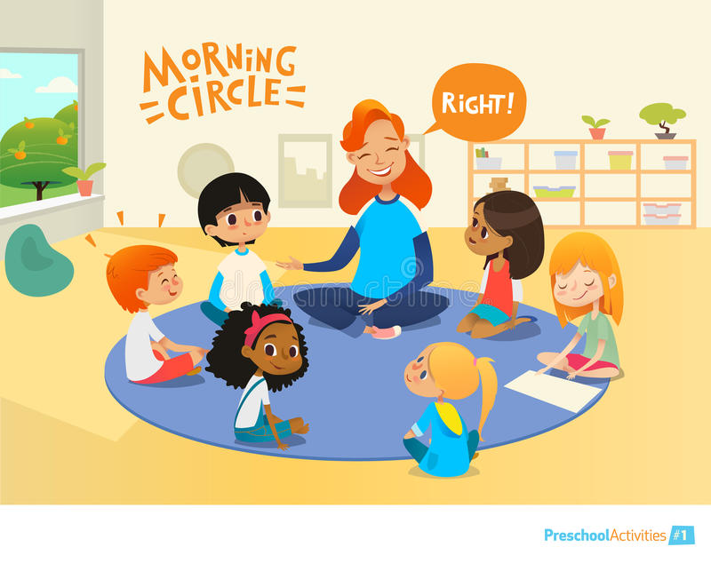 O professor faz a crianças perguntas e incentiva-as durante a lição da manhã na sala de aula pré-escolar Círculo-tempo Pre ilustração royalty free