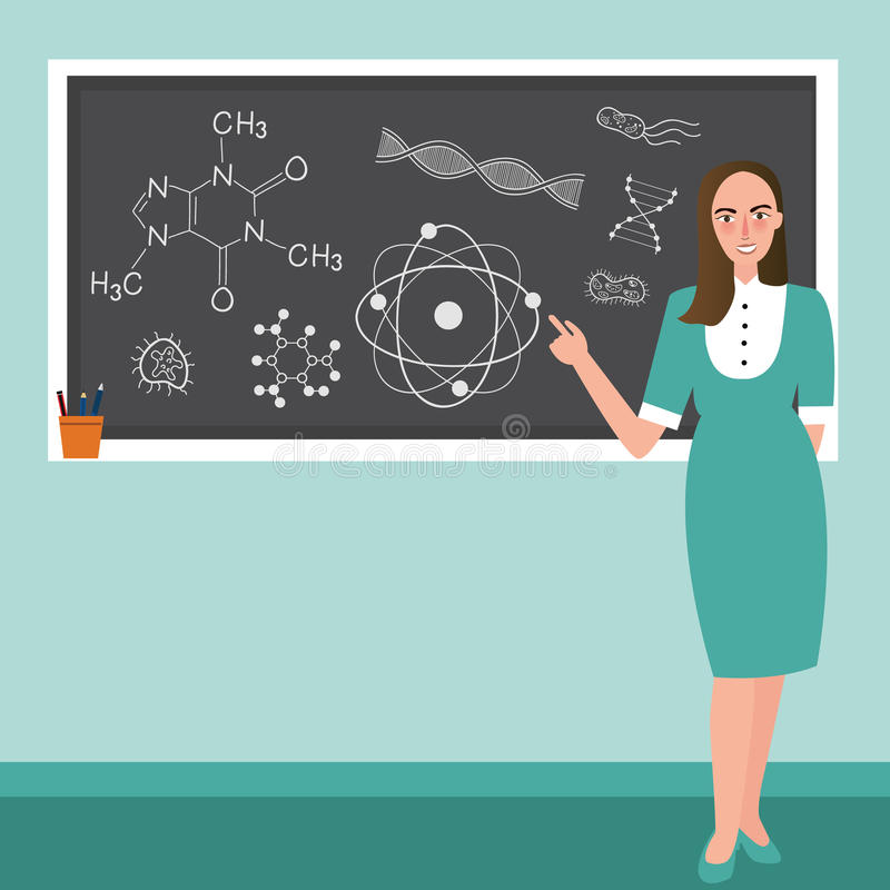 O professor na frente da classe explica o assunto da ciência da reação da química no quadro-negro ilustração stock