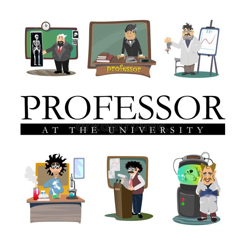 O professor perto do quadro-negro com fórmulas na leitura da universidade, professor na classe na lição ensina estudantes, mais a ilustração do vetor