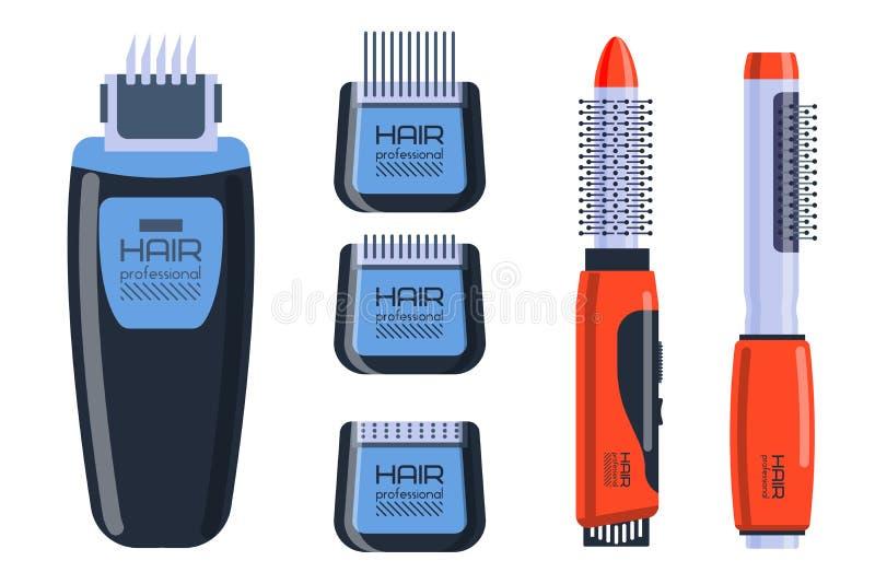 O profissional do salão de beleza do barbeiro ajustou-se com equipamento das ferramentas e torção do estilista de preparação do c ilustração royalty free