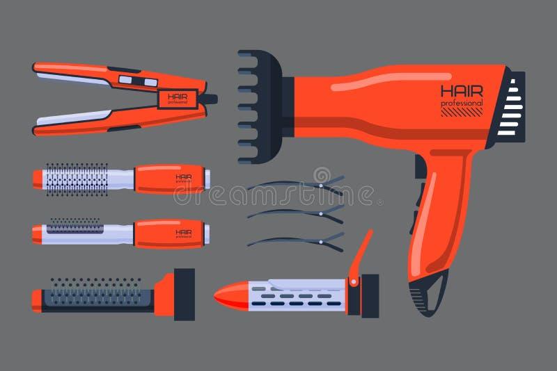 O profissional do salão de beleza do barbeiro ajustou-se com equipamento das ferramentas e torção do estilista de preparação do c ilustração stock