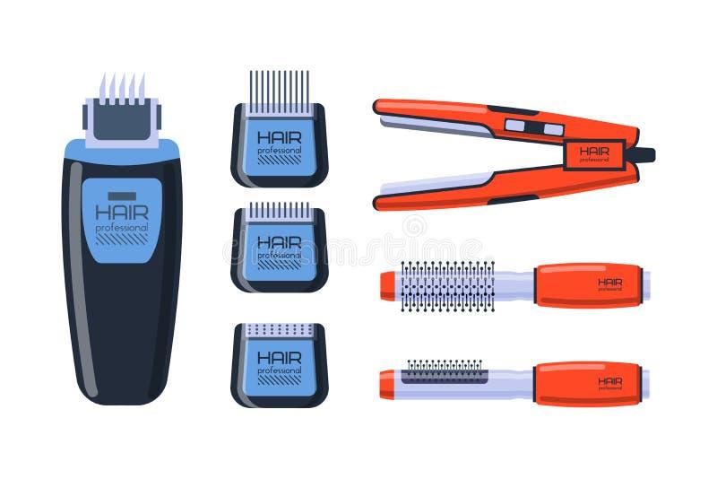 O profissional do salão de beleza do barbeiro ajustou-se com equipamento das ferramentas e torção do estilista de preparação do c ilustração do vetor