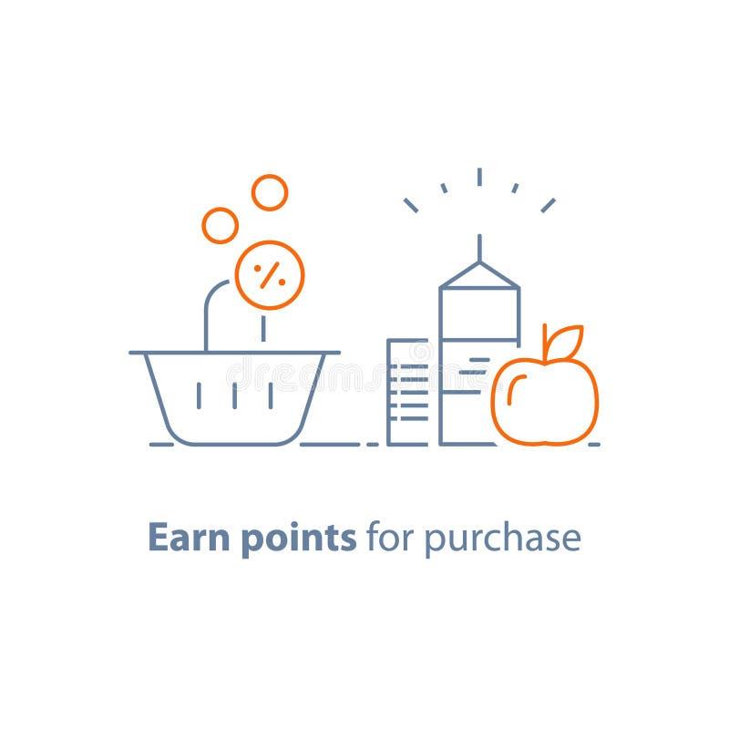 O programa da lealdade, ganha pontos e obtém a recompensa, o conceito de mercado, o alimento do mantimento e o cesto de compras ilustração stock