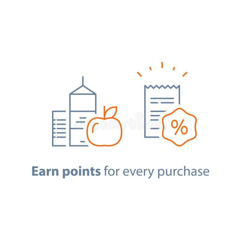 O programa da lealdade, ganha pontos e obtém a recompensa, o conceito de mercado, o alimento do mantimento e o cesto de compras ilustração do vetor