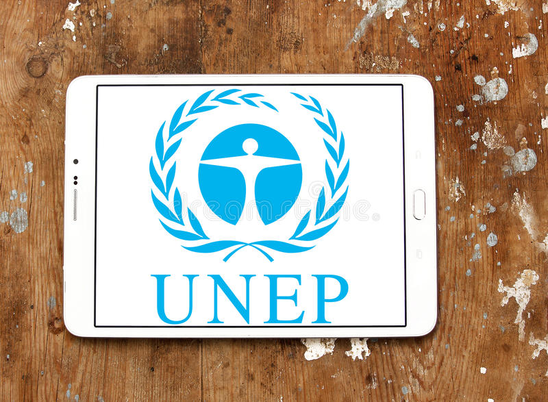 O programa do ambiente de United Nations, logotipo do PNUA fotos de stock