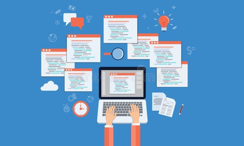 O programador do vetor desenvolve a site e a aplicação no portátil ilustração stock