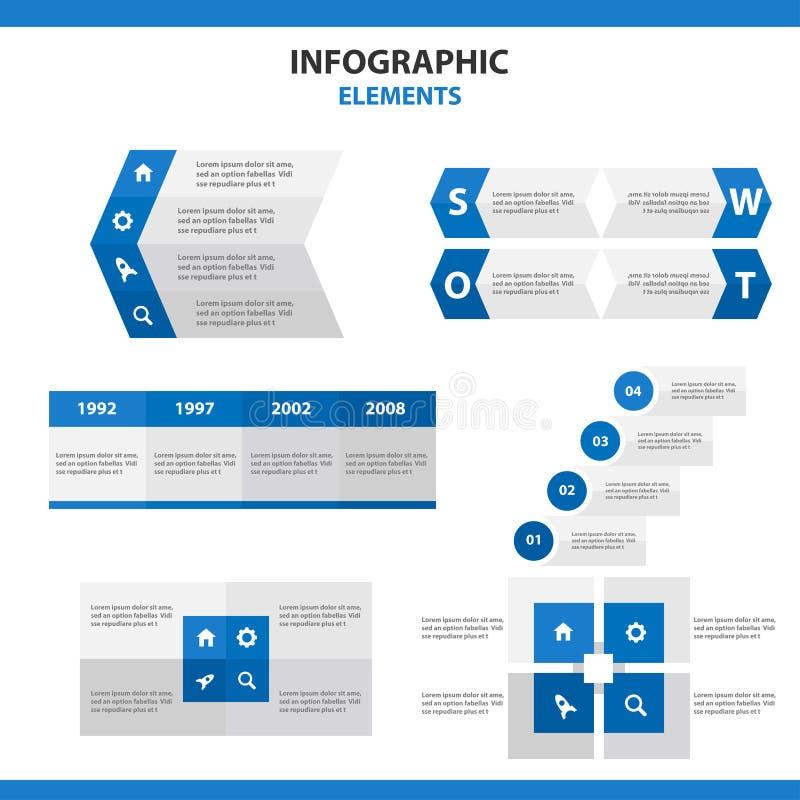 O projeto abstrato do elementsflat de Infographic dos moldes azuis da apresentação ajustou-se para o mercado do folheto do inseto ilustração stock
