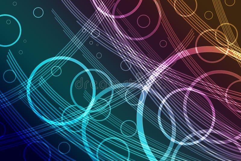 O projeto abstrato do fundo com as listras e círculo transparentes coloridos soa ilustração stock