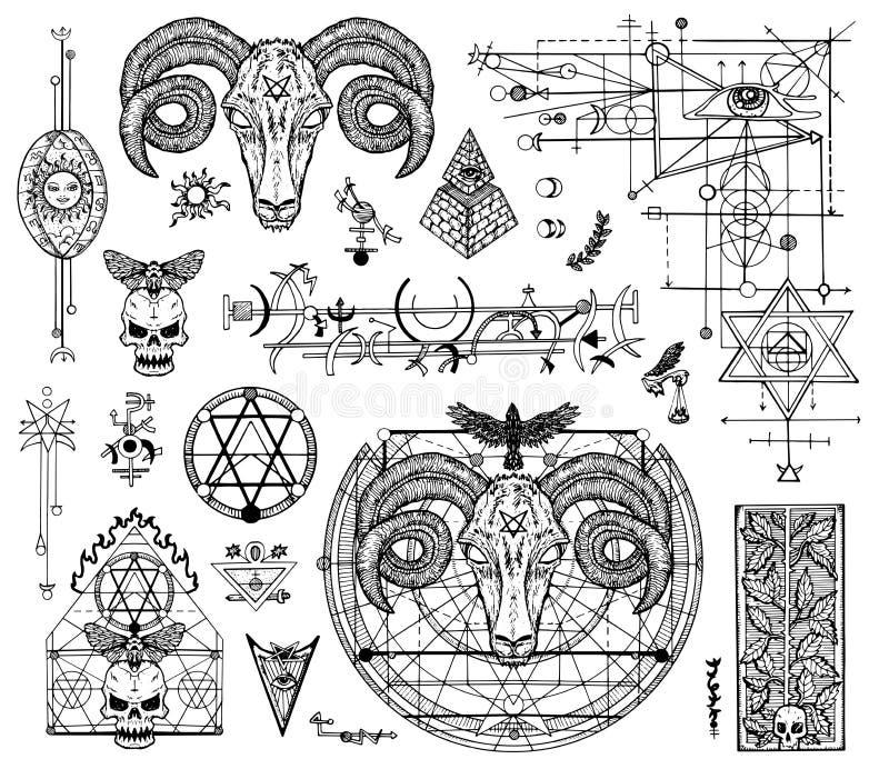 O projeto ajustou-se com os desenhos gráficos de místico e de religiões e de símbolos do diabo ilustração do vetor