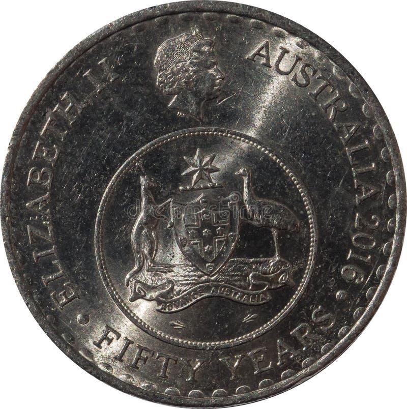 O projeto australiano do anverso da moeda 2016 de vinte-centavo para comemorar o 50th aniversário da moeda decimal fotografia de stock