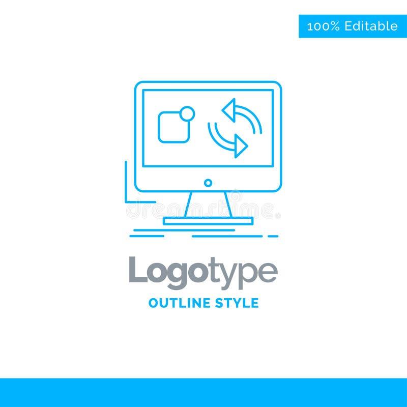 O projeto azul do logotipo para a atualização, app, aplicação, instala, sincronização Bu ilustração stock