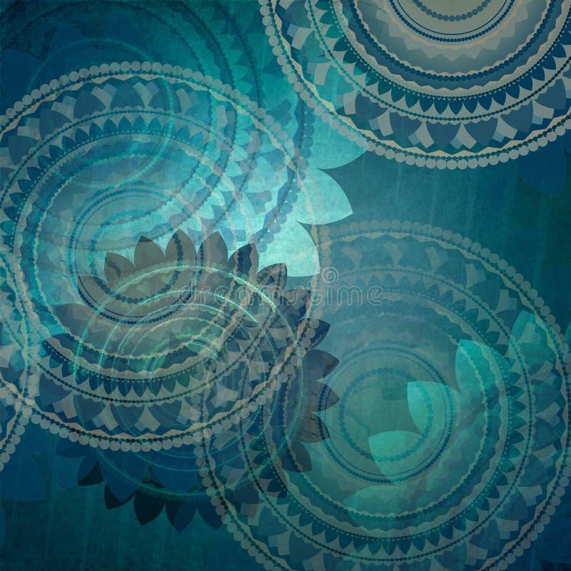 O projeto azul elegante do fundo com a flor extravagante do selo dá forma no teste padrão aleatório abstrato