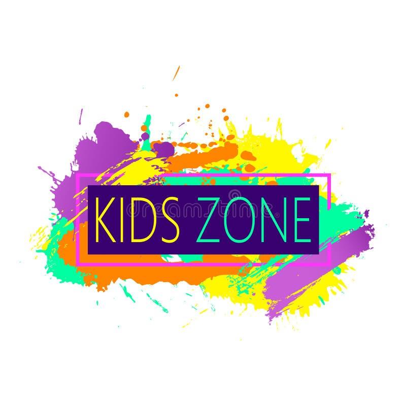 O projeto colorido moderno do quadro com crian?as divide o emblema para o campo de jogos das crian?as para o jogo e o divertiment ilustração do vetor