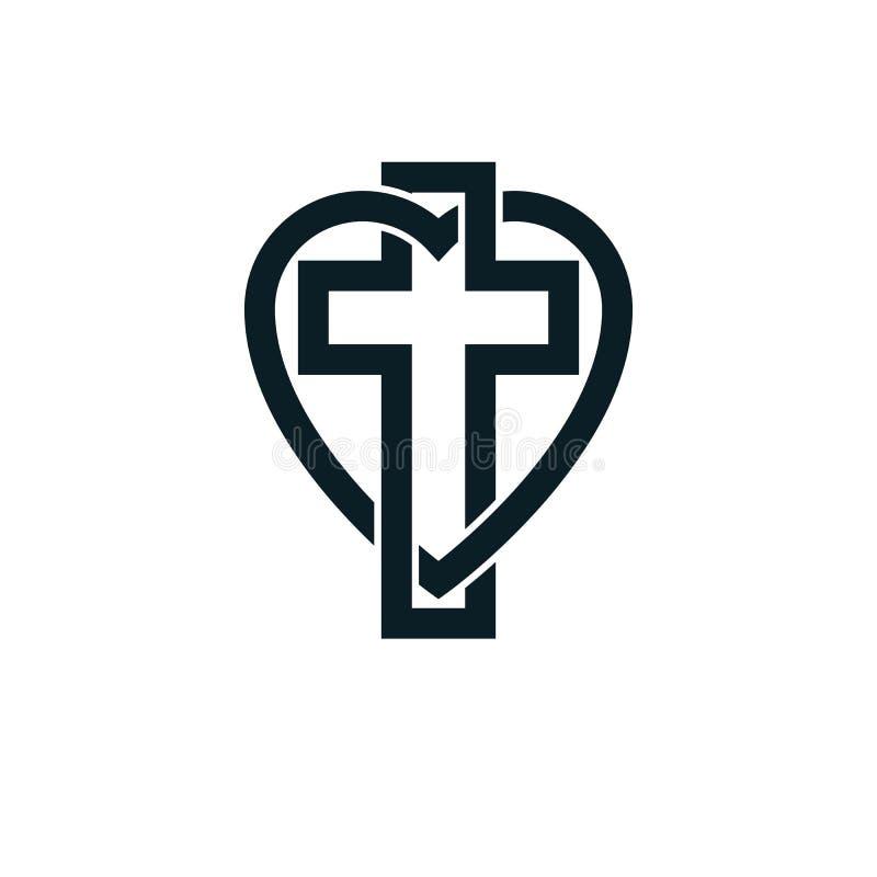 O projeto conceptual do logotipo de Christian Love do deus combinou com o Christia ilustração royalty free