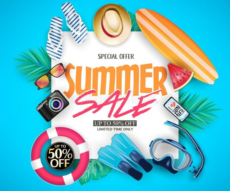 O projeto criativo até 50% do vetor do cartaz relativo à promoção da venda do verão fora com folhas tropicais, surfa a placa, más ilustração royalty free