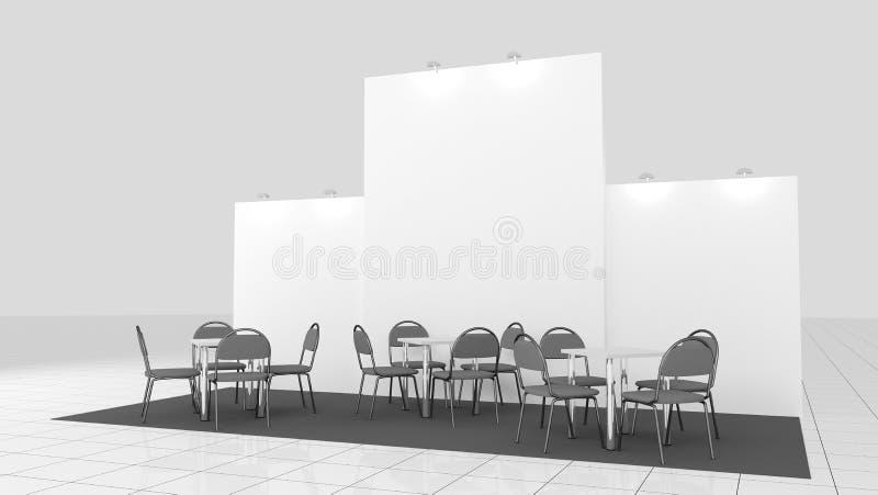 O projeto criativo vazio do suporte da exposi??o com cor d? forma Molde da cabine Marcas e identidade corporativa incorporadas 3d ilustração do vetor