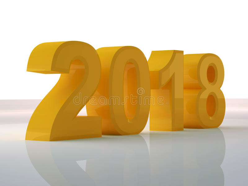 O projeto 3d do amarelo do ano rende 2018 imagem de stock royalty free