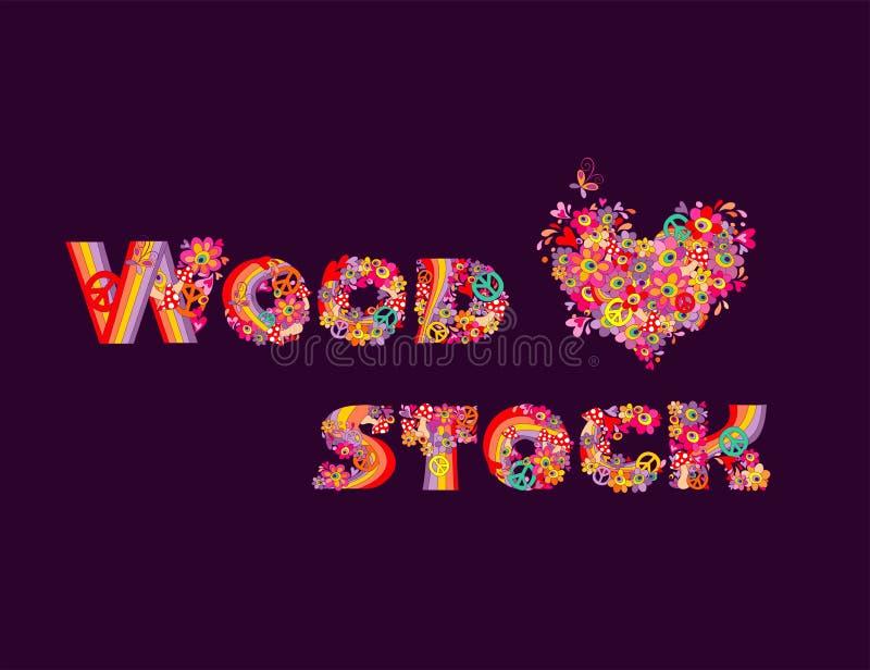 O projeto da forma isolado no fundo escuro com rotulação de tiragem da mão de Woodstock e as flores psicadélicos do coração dão f ilustração do vetor