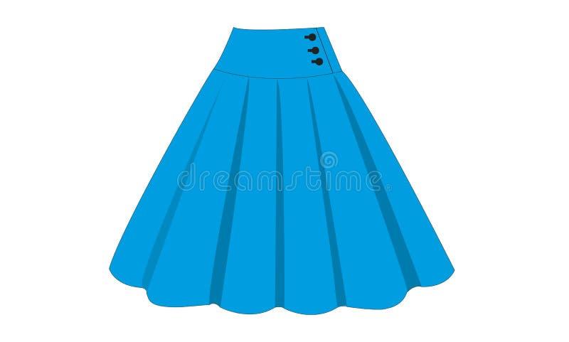 O projeto da ilustração azul da saia com ornamento abotoa-se ilustração do vetor