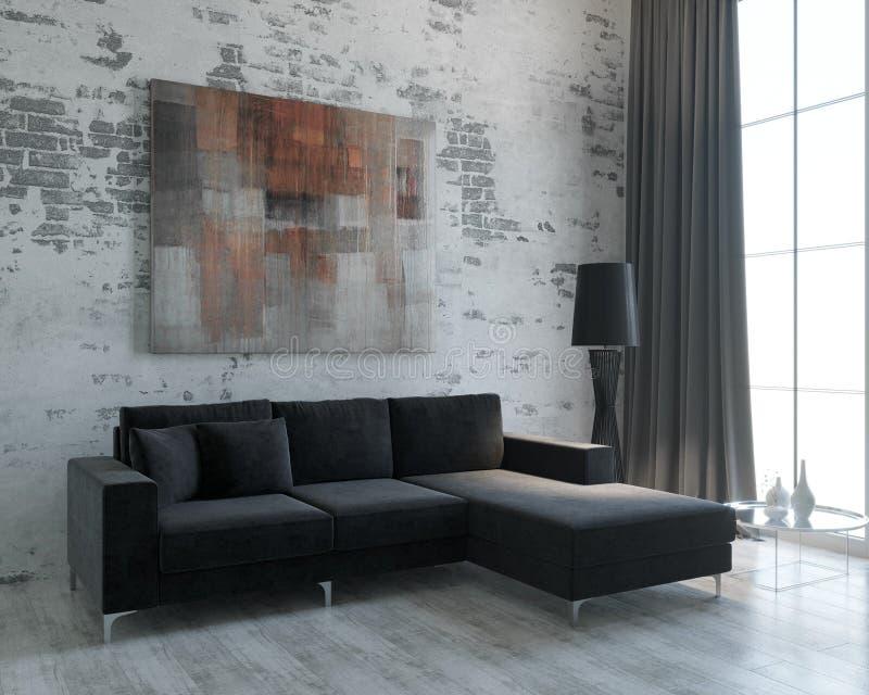 O projeto da sala de visitas no estilo do sótão minimalism ilustração royalty free