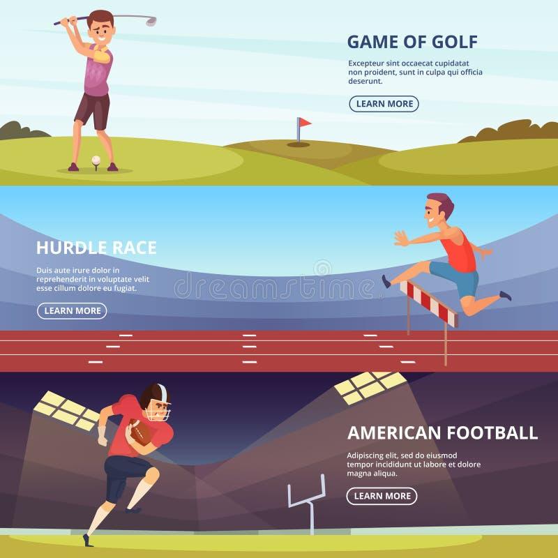 O projeto de bandeiras horizontais com os povos do esporte na ação levanta ilustração stock