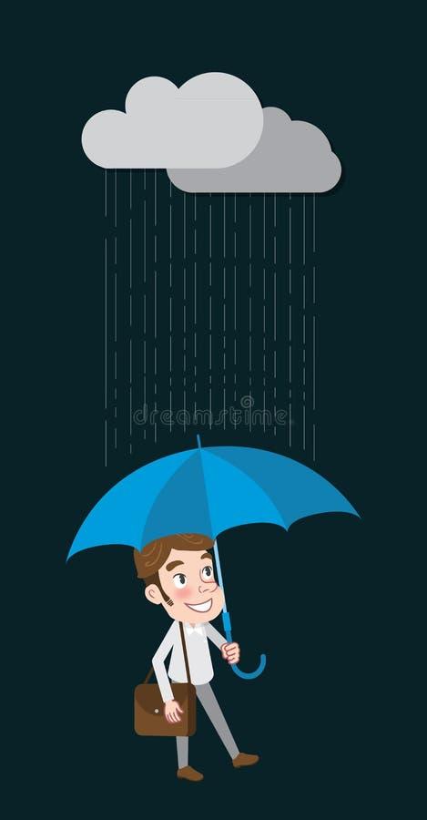 O projeto de caráter liso de tiragem equipa e chove o conceito ilustração stock