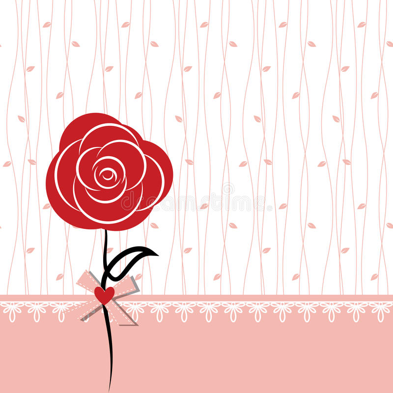 O projeto de cartão com vermelho levantou-se ilustração royalty free