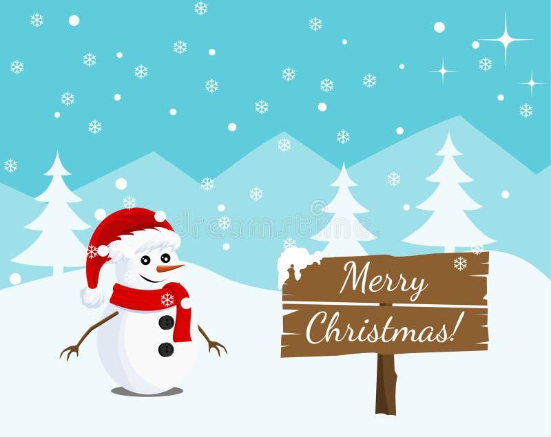 O projeto de cartão da paisagem do dia do ano novo feliz e do Feliz Natal com boneco de neve carrega Cena do inverno ilustração stock