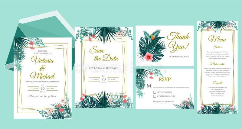 O projeto de cart?o do convite do casamento, floral convida A selva tropical sae do quadro elegante plantas ajustadas, verdes, fo ilustração do vetor