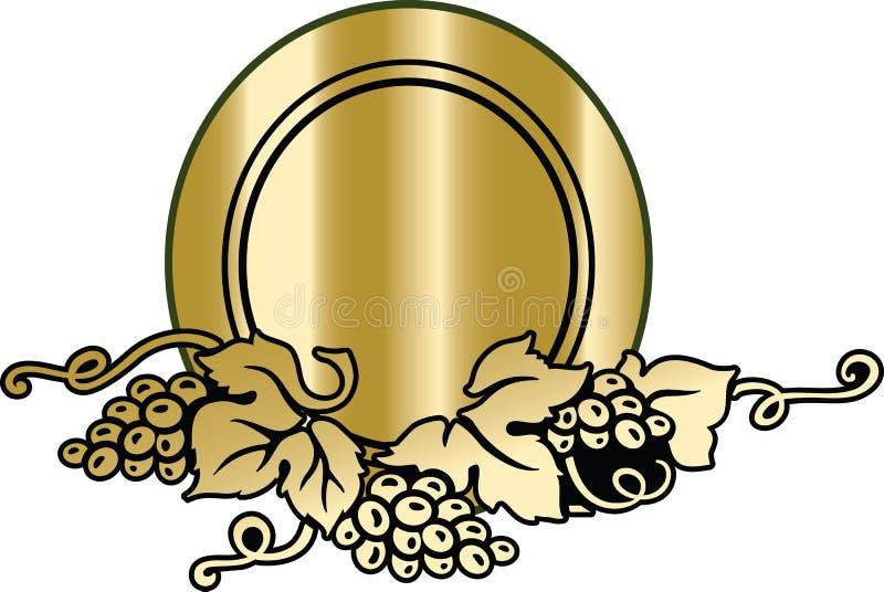 O projeto de cart?o do menu da carta de vinhos decorou o elemento com ramo dourado maduro da uva na obscuridade - fundo verde ilustração do vetor