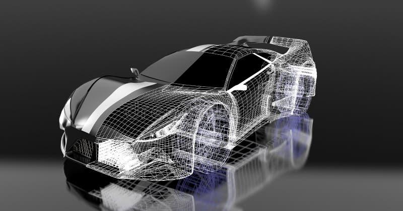o projeto de conceito 3d, carro de esportes preto moderno, esqueleto, 3d, rende ilustração do vetor