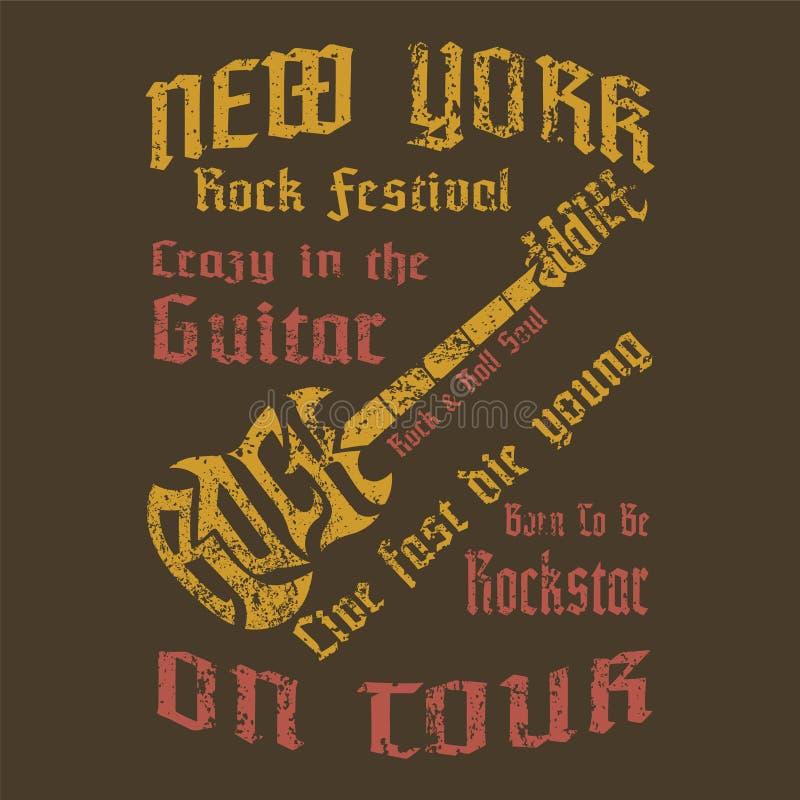O projeto de conceito da camisa do cria o texto para ser forma da guitarra, vintage a ilustração stock