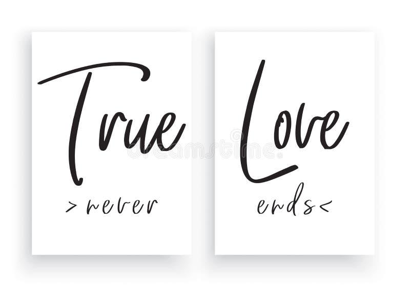 O projeto de express?o minimalista, amor verdadeiro nunca termina, vetor da decora??o da parede, decalques da parede, projeto de  ilustração stock
