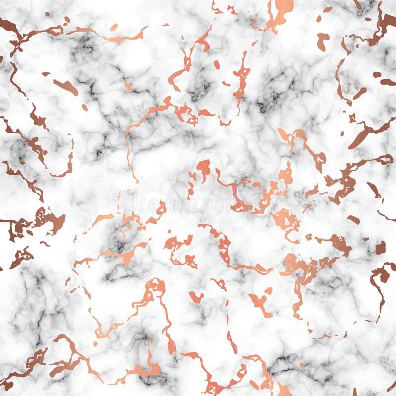 O projeto de mármore da textura do vetor com cobre chapinha pontos, superfície marmoreando preto e branco, fundo luxuoso moderno ilustração stock