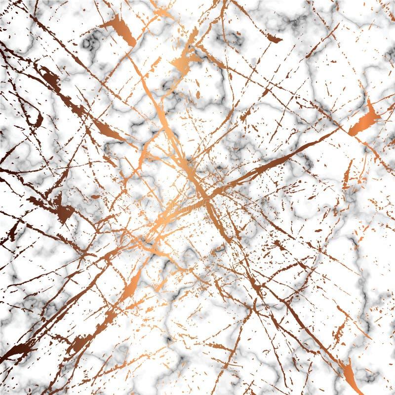 O projeto de mármore da textura do vetor com dourado chapinha linhas, superfície marmoreando preto e branco, fundo luxuoso modern ilustração royalty free